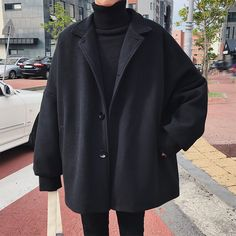 Winter Man Tide Turndown Collar Bat Sleeve Loose Casual Black/Khaki Color Woolen Blends Overcoat Coat Size M Color Black - fashion vintage classy Hijab Casual, Outfits Casual, Mode Outfits, Men Casual, Hipster Outfits, Casual Styles, Casual Winter, Outfit Winter, Casual Dresses