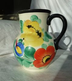 VINTAGE CZECH ART DECO POTTERY PITCHER JUG FLORAL PEASANT HAND PAINTED | eBay