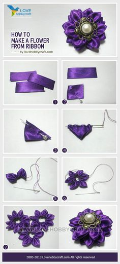 How to make a flower from ribbon GO TO THIS SITE AND FIND THE OTHER RIBBON…