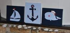 Nautical 3 Piece Canvas Paintings Wall Art Anchor Whale Sailboat Kids Nursery Sea Ocean  Buttons Beach Cottage Fish Boat