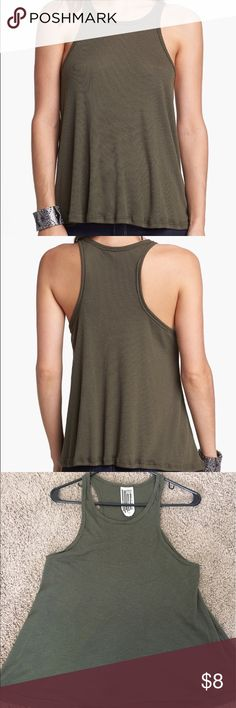 Free People Long Beach Tank in Army Green Flowy Ribbed Tank with Racerback style. True to Free People sizes and runs a little big. Great for flowy baggy fit. Free People Tops Tank Tops