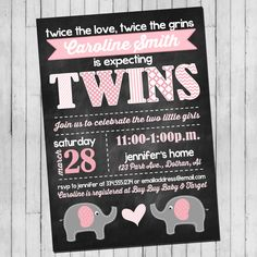 Twin Girl Baby Shower Invitation | Pink Gray Elephant | Elephant Chalkboard Digital Invitation by SweetCottonPaperie on Etsy https://www.etsy.com/listing/224735190/twin-girl-baby-shower-invitation-pink