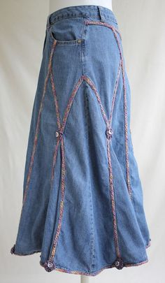 Denim Skirt with Many Colored Cording recycled by MozingoAndTolk