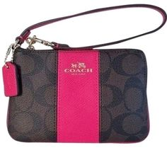 Authentic coach signature wristlet Authentic signature brown and ruby pink leather wristlet. Will fit cell phone, money credit cards, lipstick in it, Measurements 6x4x1. Comes with coach gift box and tissue paper. Coach Bags Clutches & Wristlets