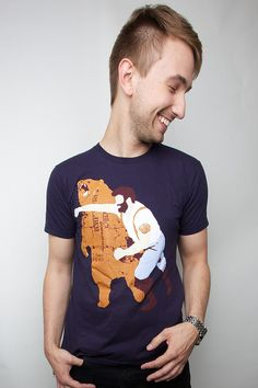Man Punching Grizzly Bear American Apparel Navy S by sharpshirter, $21.00