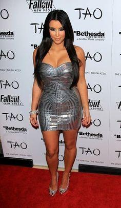 Kim Kardashian parties at Tao Las Vegas celebrities Vegas Attire, Kim Kardashian, Tao, Las Vegas, Silver Metallic Dress, Nye Dress, Party Dress, Vegas Dresses, Jenner Girls
