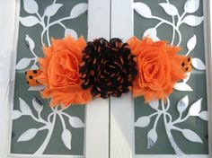 Orange and Black Halloween shabby headband $6.95
