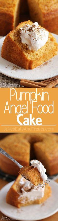 Pumpkin Angel Food Cake ~ Light, Airy Angel Food Cake with a Hint of Pumpkin! via @julieseats