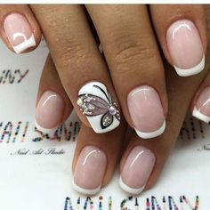 Butterfly nail art designs are loved by women because of its cute, colorful, beautiful patterns and symbolic significance, or simply because the design of butterfly nails has produced attractive effects on nails. Glam Nails, Manicure And Pedicure, Pink Nails, Beauty Nails, Butterfly Nail Designs, Butterfly Nail Art, Nail Art Designs, Butterfly Drawing, Love Nails