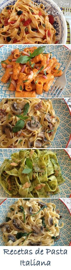 A compilation of the Italian pasta recipes from Muy Locos Por La Cocina. You can find them in www. Vegetarian Recipes, Veggie Recipes, Healthy Recipes, Kitchen Recipes, Cooking Recipes, Italian Pasta Recipes, Deli Food, International Recipes, Pasta Dishes
