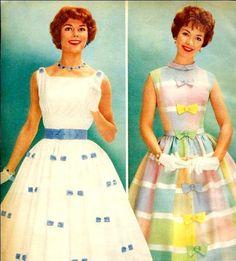 Pretty pastel dresses, 1950s.