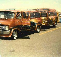 Custom 70's Dodge van and trailer