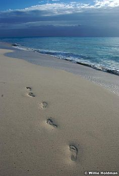 Footprints dissapearing into the beach, ocean of Mexico