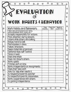 Evaluation of Work Habits and Behavior. First Grade Site!: Ready for Parent/Teacher Conferences! Parent Teacher Communication, Student Behavior, Student Data, Classroom Behavior, School Classroom, Parent Teacher Conference Forms, Behavior Goals, Behavior Sheet, Parent Teacher Interviews