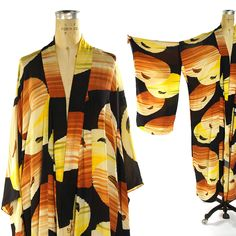Silk Sunset Kimono / Vintage 1950s Abstract Sun Pattern Bohemian Duster by SpunkVintage