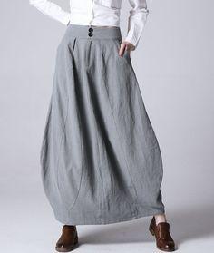Light grey linen skirt maxi skirt women skirt 1192 by xiaolizi