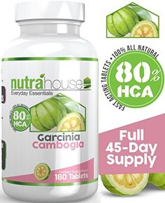 Garcinia Cambogia 80% HCA 180 Tablets, 45 Day Supply, 1,500mg per Serving. All Natural Weight Loss Support. Strongest HCA Levels in the Market. Best Natural Fat Burner. No Stimulants, No Jitters, No Caffeine, Non-GMO, Gluten-Free. Best Way To Lose Weight Naturally! NutraHouse Vitamins http://www.amazon.com/dp/B00MK8ZQJ0/ref=cm_sw_r_pi_dp_4oChvb0CVH93S