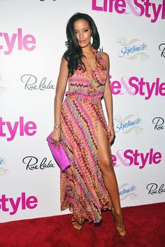 Selita Ebanks- I guess everyone is pulling the Angelina leg out the split look.