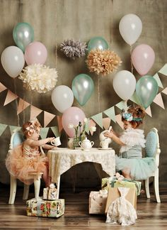 Tea party photo shoot for first birthday--I simply MUST have this for my girls!!