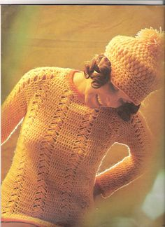 vintage crochet pattern for sweater and cap