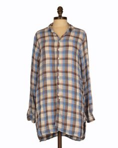 CP Shades Cecelia Button Up Tunic in Blue/Brown Plaid | Featuring a loose silhouette with a button front placket & shirttail hemline, this CP Shades button up is a closet necessity. #CPShades #plaid #cotton