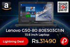 Amazon #LightningDeal is offering 19% off on Lenovo G50-80 80E503G1IN 15.6 inch Laptop at Rs.31490 Only. 2GHz Intel Core i3-5005U 5th Gen processor, 8GB RAM, 500GB Hard Disk, Windows 10 Home OS, Integrated Graphics, 4 hours battery life, 2.5kg laptop.  http://www.paisebachaoindia.com/lenovo-g50-80-80e503g1in-15-6-inch-laptop-at-rs-31490-only-amazon/
