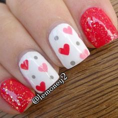So-Pretty Nail Art Designs for Valentine's Day So-Pretty Nail Art Designs for Valentine's Day,Cool Nail Designs So-Pretty Nail Art Designs for Valentine's Day Pretty Nail Art, Cute Nail Art, Cute Nails, Valentine Nail Art, Holiday Nail Art, Valentine Nail Designs, Valentines Hearts, Fancy Nails, Diy Nails