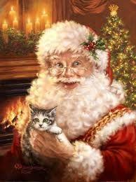 santa clause, kitten, antigua, catschristmascommun board, vintage santas, art, dona gelsing, crafts, antiques