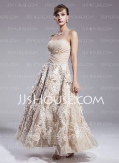 Wedding Dresses - $198.49 - A-Line/Princess Sweetheart Ankle-Length Satin  Lace Wedding Dresses With Ruffle  Beadwork (002012841) http://jjshouse.com/A-line-Princess-Sweetheart-Ankle-length-Satin--Lace-Wedding-Dresses-With-Ruffle--Beadwork-002012841-g12841