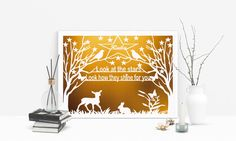 Look at the Stars Papercut - Nursery Art - Woodland Art - New Baby Gift - pinned by pin4etsy.com