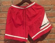 VINTAGE UMBRO SOCCER SHORTS MENS Large Red WITH WHITE TRIM MADE IN USA NYLON -M  | eBay