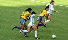 Brazil 0 Argentina 1 in 1990 in Turin. Diego Maradona goes on a 30 yard run and sets up Claudio Caniggia in Round 2 #WorldCupFinals