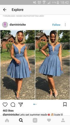 Pinterest @ TB Seshweshwe Dresses, African Dresses For Women, African Print Dresses, African Print Fashion, African Attire, African Fashion Dresses, African Outfits, Setswana Traditional Dresses, African Traditional Wedding Dress