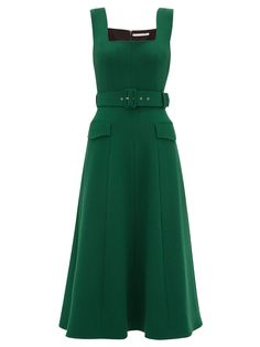 Emilia Wickstead Petra Belted Wool-crepe Midi Dress In Dark Green Day Dresses, Dress Outfits, Casual Dresses, Fashion Dresses, Summer Dresses, Teen Dresses, Woman Outfits, Club Outfits, Midi Dresses