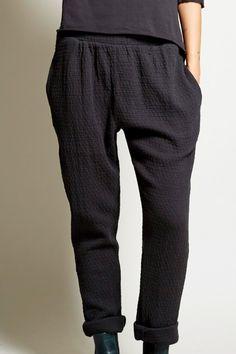 Black Crane Quilt Pant in Black