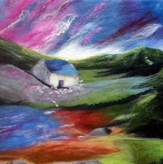 """Safe Haven"" by SueForeyfibreart on Etsy - wet felted painting of Welsh countryside."