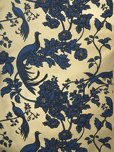 Florence Broadhurst 'Bird of Paradise' RF54 wallpaper in Pontoon Blue, Matt Black on Shiny Gold