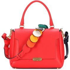 Anya Hindmarch Circle Small Bathurst Leather Shoulder Bag ($1,785) ❤ liked on Polyvore featuring bags, handbags, shoulder bags, red, red shoulder bag, real leather handbags, red leather shoulder bag, circle purse and real leather purses