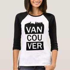 Women's 3/4 sleeve t-shirt - Vancouver lettering - white gifts elegant diy gift ideas