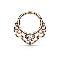 CZ Centered Lotus Filigree All Brass Bendable WildKlass Septum/Cartilage Rings