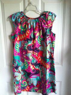 BTS Hanna Andersson Bright Retro Floral Paisley Gunny Sack Dress Size 160 16-18 #HannaAndersson #DressyEveryday