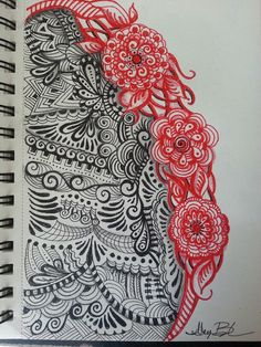 Red Blooming Tangles by Meg Buchner 3-31-14