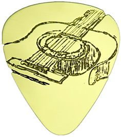 """myLife Hard Luxury """"Round Tip"""" Guitar Pick Made of Genuine Solid Brass {Yellow Gold Colored """"Acoustic Guitar Sketch"""" - Perfect for Creating Dynamic Tones on Any Type of Acoustic or Electric Guitar} [Single Pack] myLife Brand Products http://www.amazon.com/dp/B00X8SCOCI/ref=cm_sw_r_pi_dp_zRCNvb1NKQHRJ"""