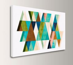 """Mid Century Modern Art - Canvas Print - Teal, Blue, and Brown Colored Triangles - Vintage Modern Wall Decor  - """"Warm Dimensions"""""""