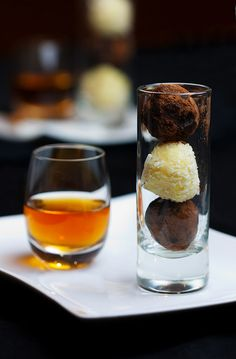 Dark Chocolate and Coconut Truffles Trio with French Dessert Wine