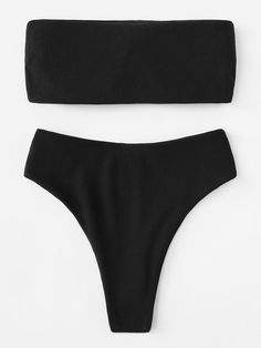 6383aa5f13828 Shop Ribbed Bandeau With High Leg Bikini Set online. SHEIN offers Ribbed  Bandeau With High Leg Bikini Set   more to fit your fashionable needs.