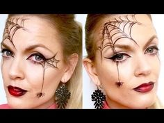 Quick and easy spider web halloween makeup - YouTube                                                                                                                                                                                 More