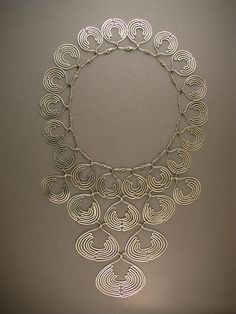 Lace Collar 1979 sterling silver, Ethiopian coin silver beads 12 x 7 1/2 in.  http://www.ahlenewelsh.com/jewelry/lace_collar.html