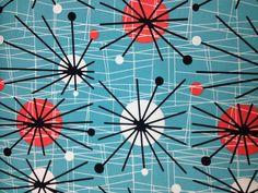 Michael Miller Atomic - Retro Mid-Century Sputnik Starburst Fabric - Turquoise - Per metre - Cotton