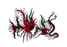 Original pen and ink drawing abstract art red by ablazeincolor, $80.00